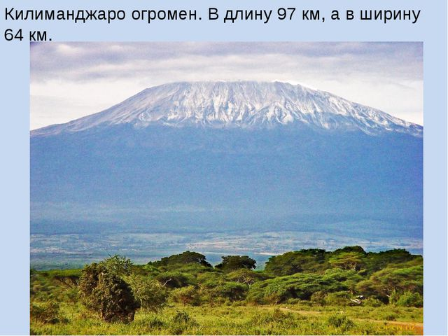 Килиманджаро огромен. В длину 97 км, а в ширину 64 км.