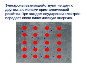 Электроны взаимодействуют не друг с другом, а с ионами кристаллической решётк