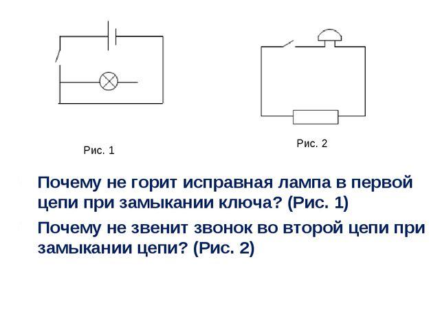 Почему не горит исправная лампа в первой цепи при замыкании ключа? (Рис. 1) П...