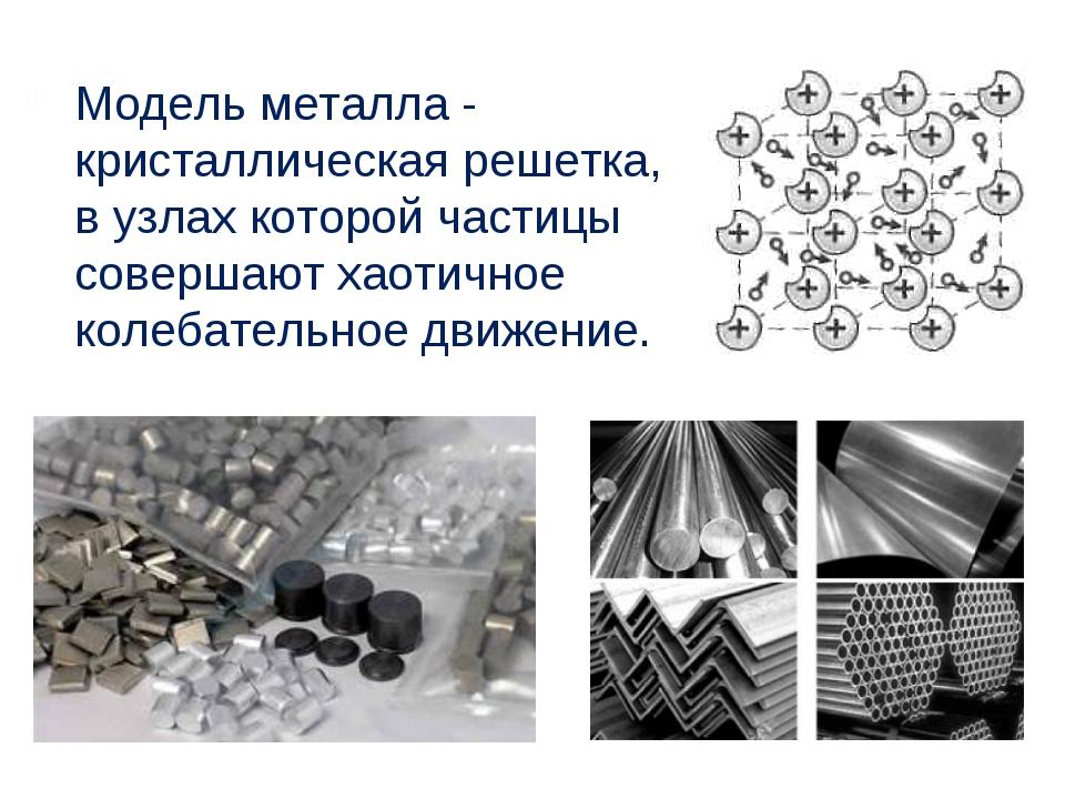 Модель металла - кристаллическая решетка, в узлах которой частицы совершают х...