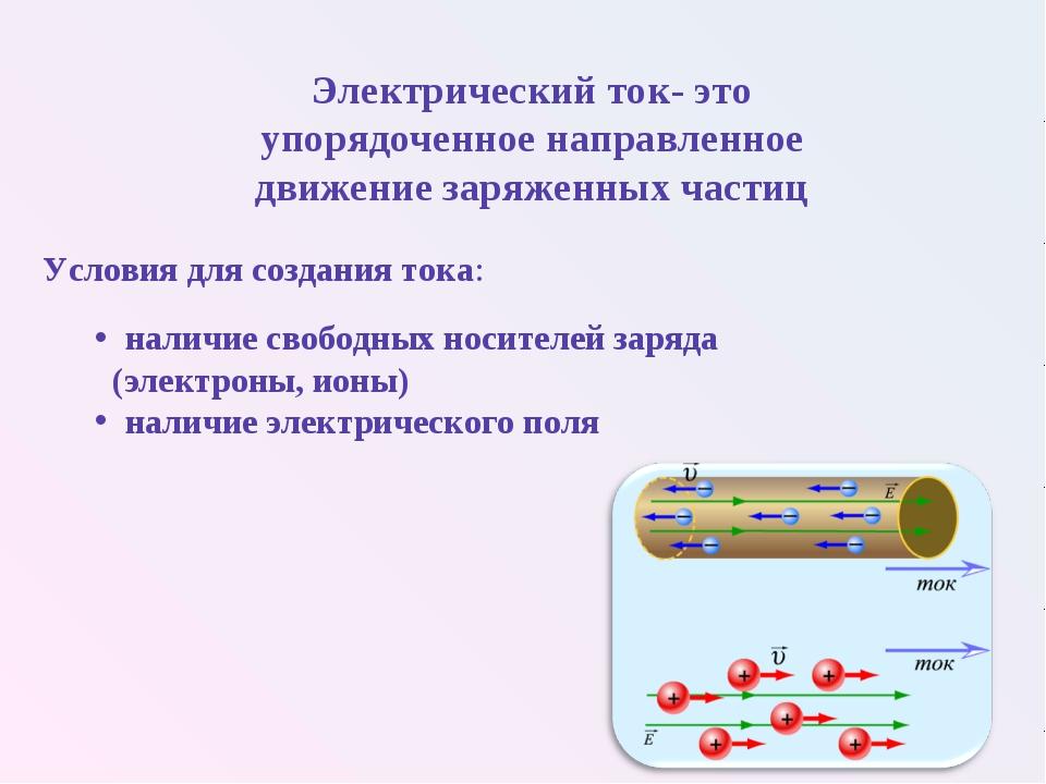 Условия для создания тока: наличие свободных носителей заряда (электроны, ион...