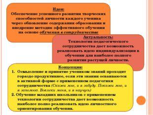 Идея: Обеспечение успешного развития творческих способностей личности каждого
