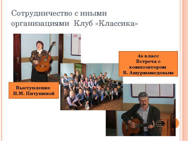 Сотрудничество с иными организациями Клуб «Классика» Выступление Н.М. Питунин...