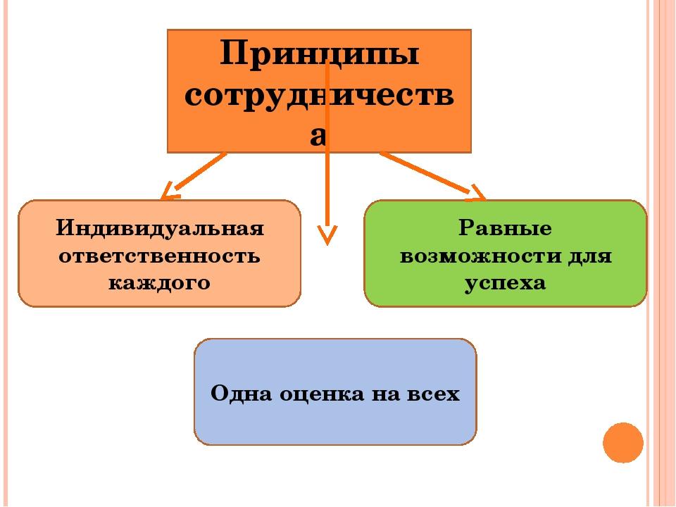 Принципы сотрудничества Равные возможности для успеха Индивидуальная ответств...
