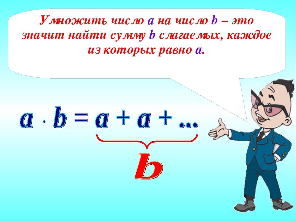 Умножить число а на число b – это значит найти сумму b слагаемых, каждое из к...