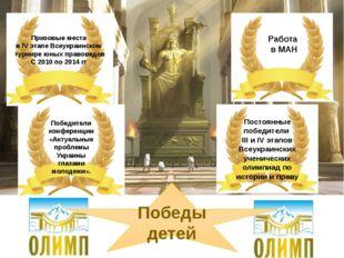 Победы детей Призовые места в ІV этапе Всеукраинском турнире юных правоведов