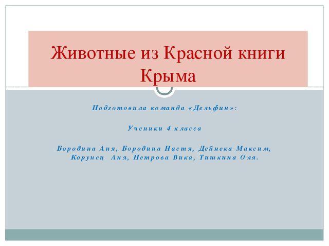 Подготовила команда «Дельфин»: Ученики 4 класса Бородина Аня, Бородина Настя,...