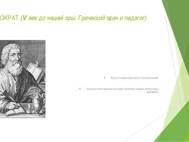 ГИППОКРАТ (V век до нашей эры. Греческий врач и педагог) В роду Гиппократа бы...