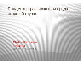 Предметно-развивающая среда в старшей группе МБДУ «Светлячок» с. Воинка Воспи