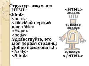 Структура документа HTML:   Мой первый шаг    Здравствуйте, это моя первая ст