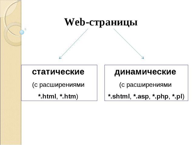 Web-страницы cтатические (с расширениями *.html, *.htm) динамические (с расши...