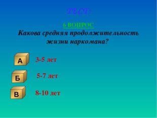 ТЕСТ: 6 ВОПРОС Какова средняя продолжительность жизни наркомана? Б В А 3-5 ле