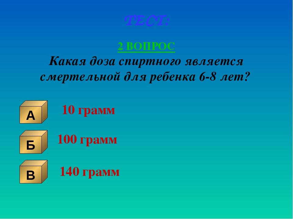 ТЕСТ: 2 ВОПРОС Какая доза спиртного является смертельной для ребенка 6-8 лет?...
