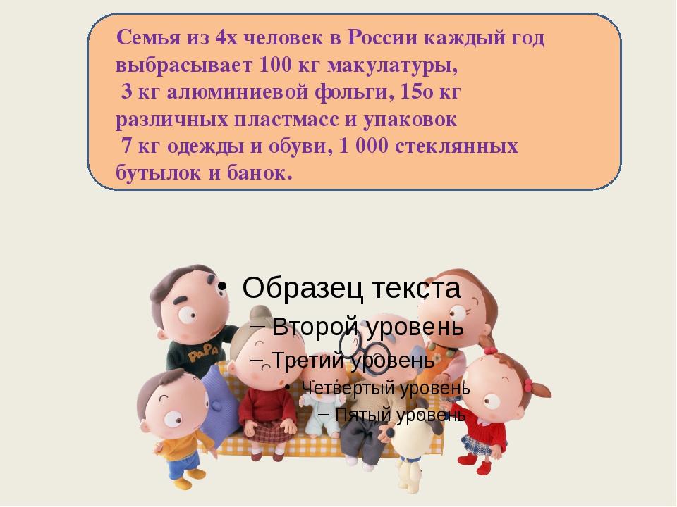Семья из 4х человек в России каждый год выбрасывает 100 кг макулатуры, 3 кг...