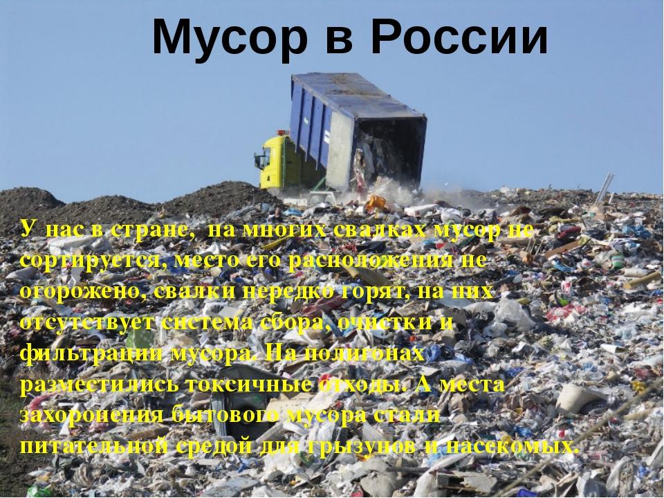 У нас в стране, на многих свалках мусор не сортируется, место его расположен...