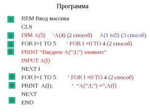 Программа REM Ввод массива CLS DIM A(5) 'A(4) (2 cпособ) A(1 to5) (3 способ)