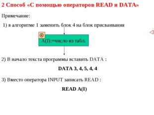 2 Способ «С помощью операторов READ и DATA» Примечание: 1) в алгоритме 1 заме