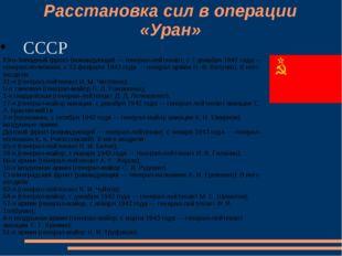 Расстановка сил в операции «Уран» СССР Юго-Западный фронт (командующий — ген