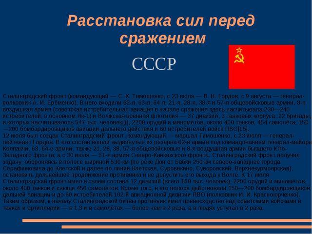 СССР Расстановка сил перед сражением Сталинградский фронт (командующий — С. К...