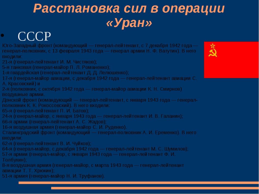 Расстановка сил в операции «Уран» СССР Юго-Западный фронт (командующий — ген...