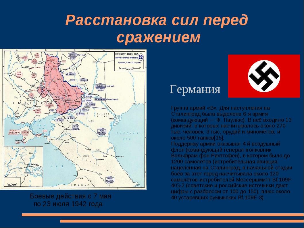 Расстановка сил перед сражением Боевые действия с 7 мая по 23 июля 1942 года...