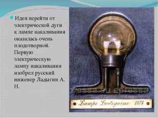 Идея перейти от электрической дуги к лампе накаливания оказалась очень плодо