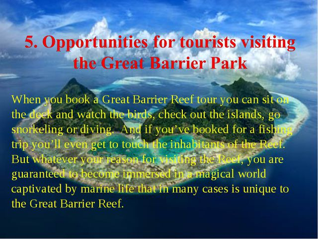 When you book a Great Barrier Reef tour you can sit on the deck and watch the...