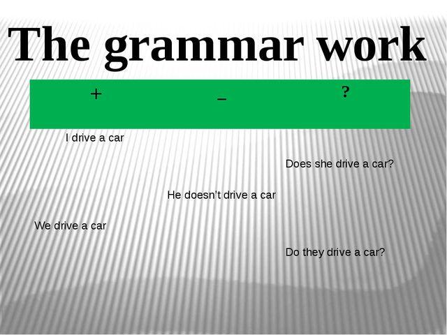 The grammar work + _ ? I drive a car Doesshe drive a car? He doesn'tdrive a c...