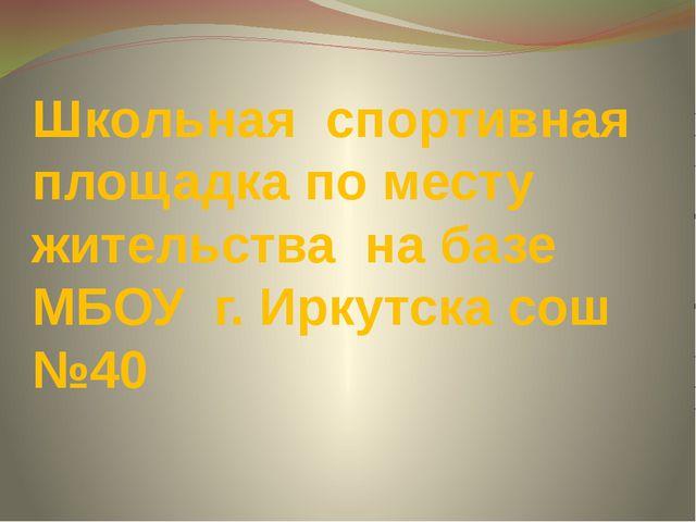 Школьная спортивная площадка по месту жительства на базе МБОУ г. Иркутска сош...