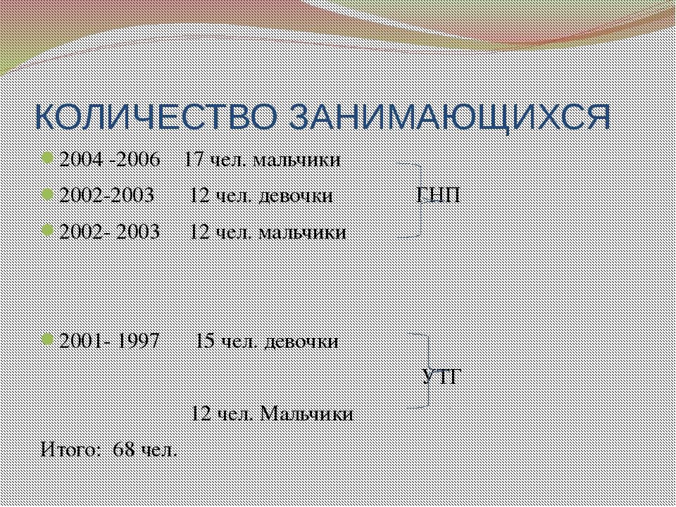 КОЛИЧЕСТВО ЗАНИМАЮЩИХСЯ 2004 -2006 17 чел. мальчики 2002-2003 12 чел. девочки...