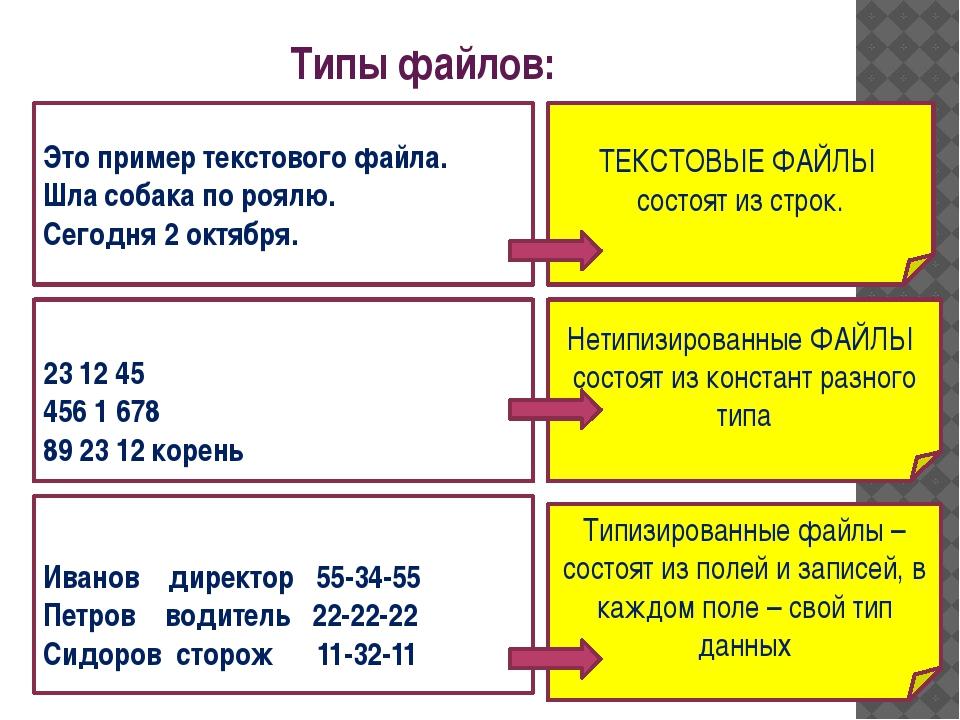 ТЕКСТОВЫЕ ФАЙЛЫ состоят из строк. Типы файлов: Это пример текстового файла. Ш...
