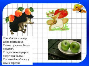 Три яблока из сада ёжик притащил. Самое румяное белке подарил. С радостью под