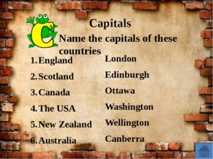 Capitals England Scotland Canada The USA New Zealand Australia Name the capi