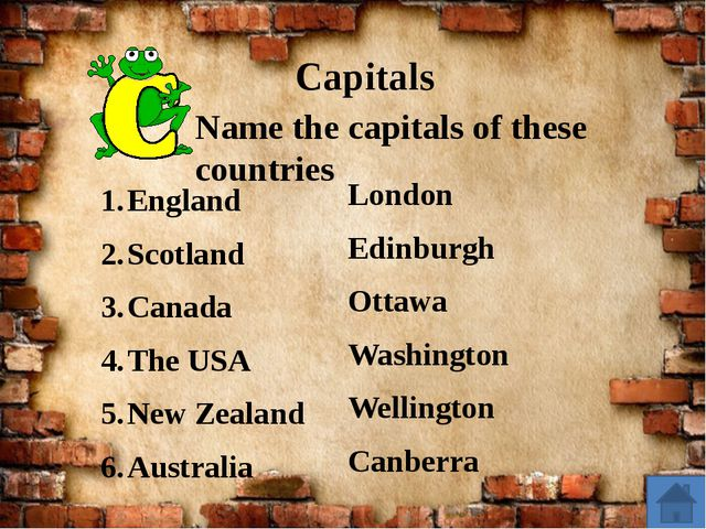 Capitals England Scotland Canada The USA New Zealand Australia Name the capi...