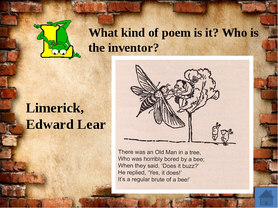 Limerick, Edward Lear What kind of poem is it? Who is the inventor?