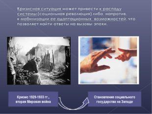 Становление социального государства на Западе Кризис 1929-1933 гг., вторая Ми