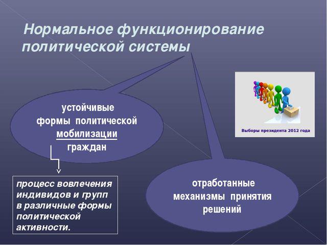 Нормальное функционирование политической системы устойчивые формы политическ...
