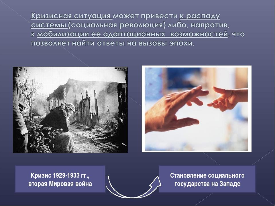 Становление социального государства на Западе Кризис 1929-1933 гг., вторая Ми...