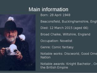 Main information Born: 28 April 1948 Beaconsfield, Buckinghamshire, England D
