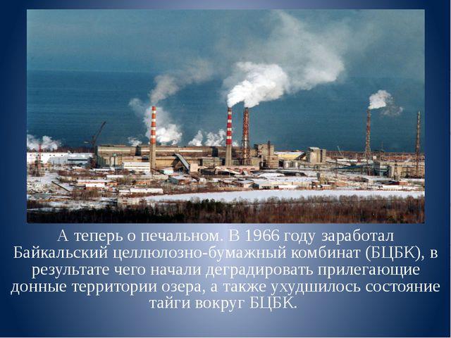 А теперь о печальном. В 1966 году заработал Байкальский целлюлозно-бумажный к...