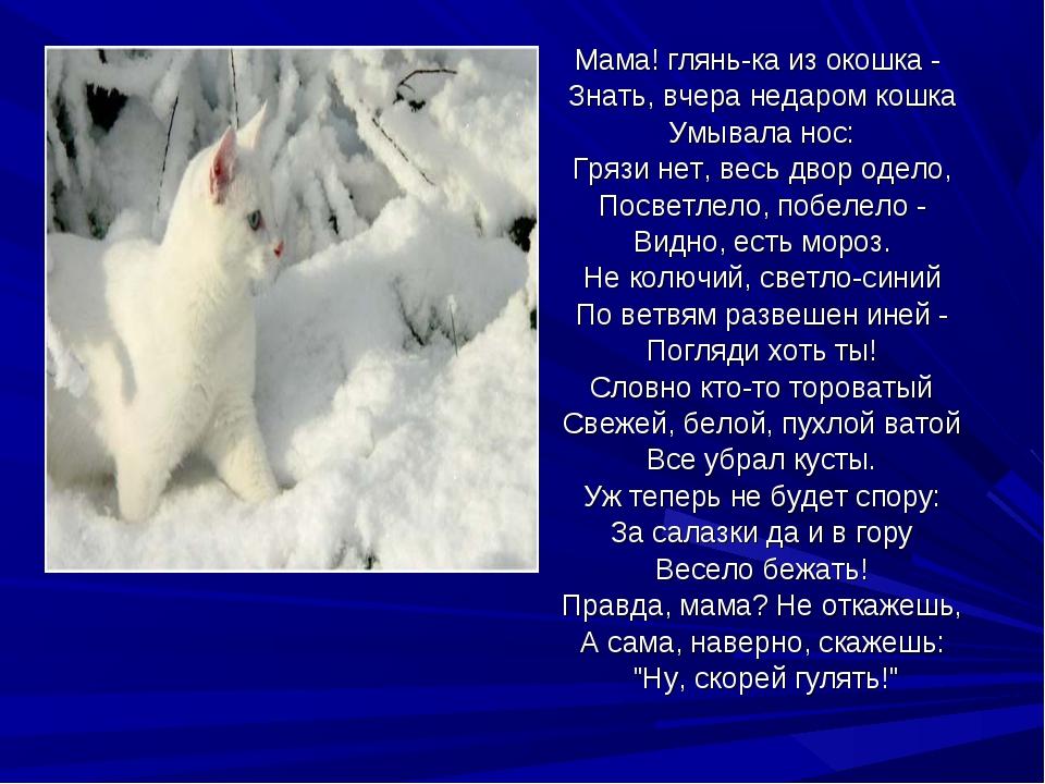 Мама! глянь-ка из окошка - Знать, вчера недаром кошка Умывала нос: Грязи нет,...