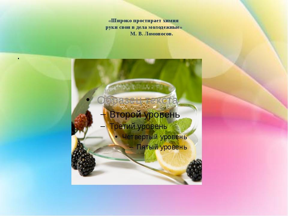 «Широко простирает химия руки свои в дела молодежные» М. В. Ломоносов. .