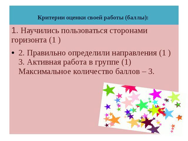 Критерии оценки своей работы (баллы): 1. Научились пользоваться сторонами го...