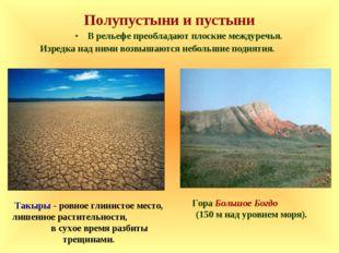 Полупустыни и пустыни В рельефе преобладают плоские междуречья. Изредка над н