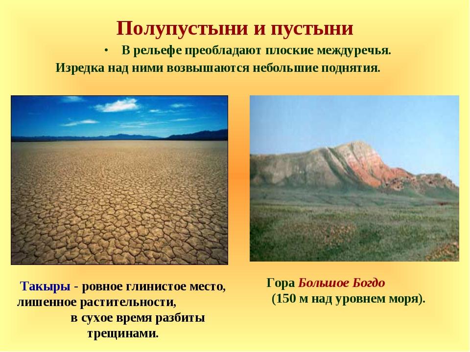 Полупустыни и пустыни В рельефе преобладают плоские междуречья. Изредка над н...
