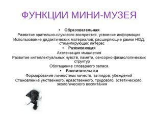 ФУНКЦИИ МИНИ-МУЗЕЯ Образовательная Развитие зрительно-слухового восприятия, у