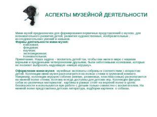 АСПЕКТЫ МУЗЕЙНОЙ ДЕЯТЕЛЬНОСТИ  Мини-музей предназначен для формирования перв