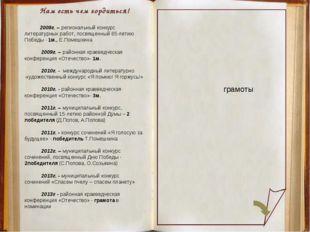 Нам есть чем гордиться! 2009г. – региональный конкурс литературных работ, пос