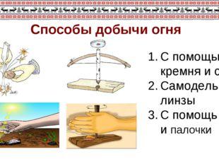 Способы добычи огня С помощью кремня и стали Самодельной линзы С помощь лука