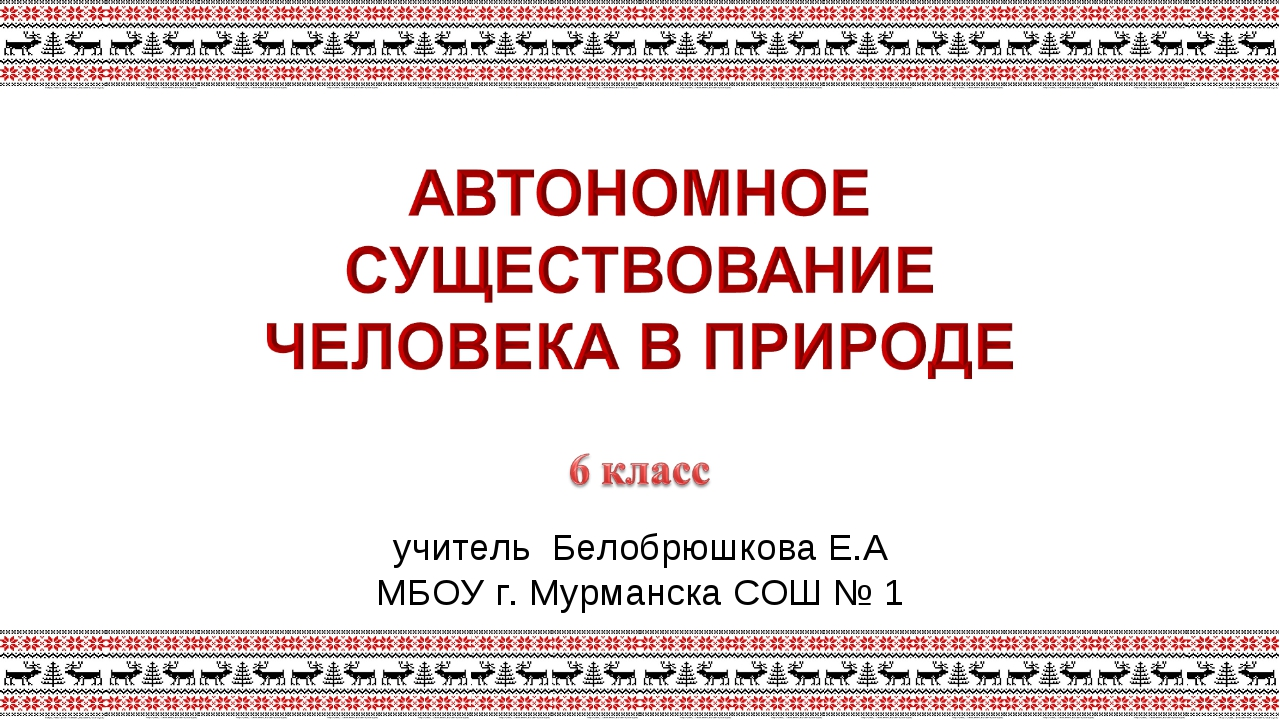 учитель Белобрюшкова Е.А МБОУ г. Мурманска СОШ № 1